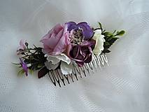 Ozdoby do vlasov - Hrebienok fialovo-ružový - 9229182_