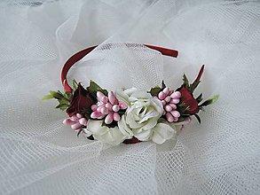 Ozdoby do vlasov - Čelenka bielo-ružovo-bordová - 9232808_