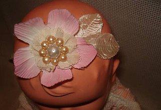 Ozdoby do vlasov - čelenka - ružový kvietok s perličkami - 9232922_