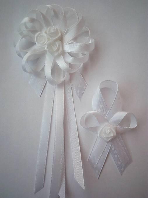 Biele elegantné svadobné pierko pre svadobného otca/starejšieho