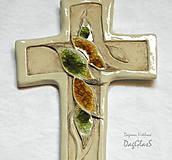 Dekorácie - Keramický kríž so sklom - 9232198_