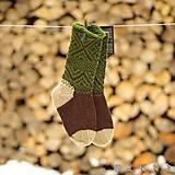 Obuv - Ponožky z ovčej vlny STRÁŽOV  (Hnedo - zelená (36-37, 38-39, 40-41)) - 9229864_