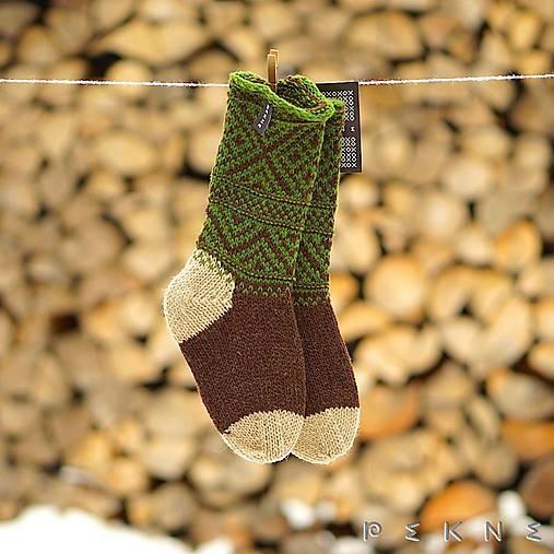 Ponožky z ovčej vlny STRÁŽOV  (Hnedo - zelená (36-37, 38-39, 40-41))
