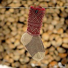 Obuv - Ponožky z ovčej vlny STRÁŽOV  (Sivo - bordová) - 9229874_