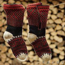 Obuv - ČIČMANSKE KOPITCIA   Pánske ponožky z ovčej vlny (červeno-žlté) (Zeleno - červená) - 9229988_