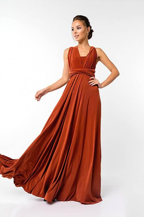 Maxi šaty TRANSFORMERS, tehlové