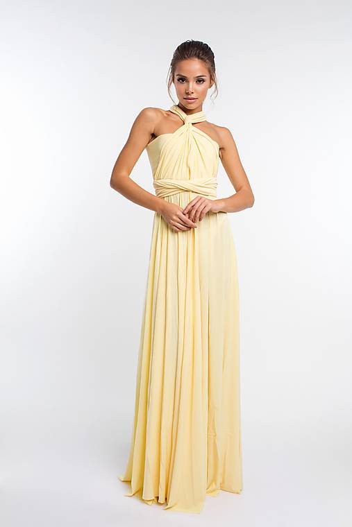 Maxi šaty TRANSFORMERS, svetlo žlté