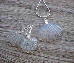 Sady šperkov - Mušle sada  (Biele trblietavé mušle sada č.1831) - 9232342_
