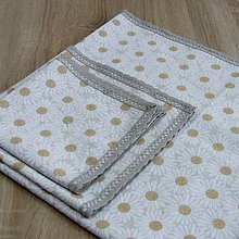 Úžitkový textil - Margaréty s oranžovým melírom - obrus štvorec - 9232372_