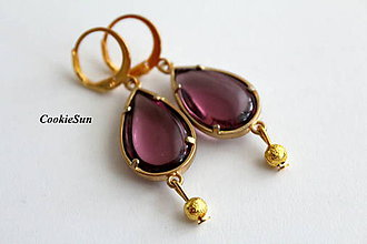 Náušnice - Blush Purple in Gold - 9233451_