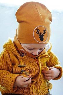 Detské čiapky - Jarná čiapka Jeleň & horčicová - 9234105_