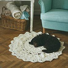 Úžitkový textil - Mandalový hebučký koberček - krémový - 9233831_