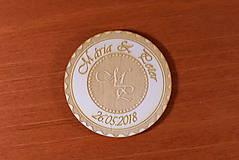 Darčeky pre svadobčanov - Svadobná magnetka drevená gravírovaná 149 - 9232612_