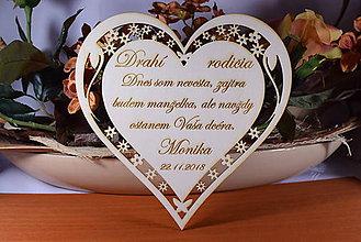 Darčeky pre svadobčanov - Poďakovanie Rodičom srdce vyrezávané 13 - 9231618_