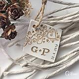 Darčeky pre svadobčanov - Visačka na fľašu s iniciálami a dátumom - 9228905_