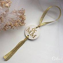 Darčeky pre svadobčanov - Medajlón na fľaše s iniciálami - zlatý - 9228910_