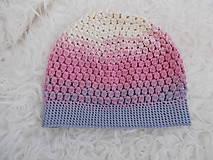 Detské čiapky - Predĺžená jarná dúhová (ružovo-sivo-smotanová) čiapočka - 9232333_