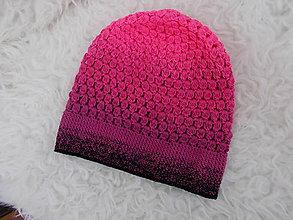 Detské čiapky - Predĺžená jarná dúhová (ružovo-čierna) čiapočka - 9232265_