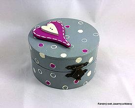 Krabičky - šperkovnica Bodkovaná so srdiečkom sivá - 9232387_