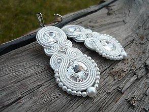 Náušnice - Soutache náušnice Svatební Crystal&Pearl White - 9235203_
