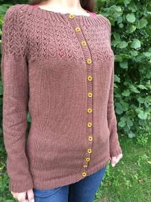 Svetre/Pulóvre - návod na čokoládový dámsky sveter, veľ. 38 - 9238079_