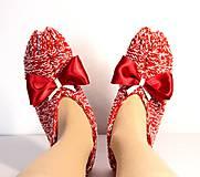 Vlnené papuče s mašľou 2