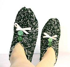 Obuv - Vlnené papuče - tmavo-zelené - 9237056_