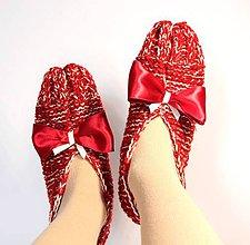 Obuv - vlnené papuče s mašľou - 9237077_