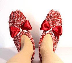 Obuv - Vlnené papuče s mašľou 2 - 9237127_
