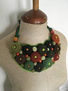 Náhrdelníky - Náhrdelník originálny vlnený v zelenom - 9234998_