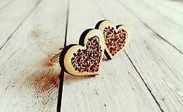Šperky - Manžetové gombíky drevené srdiečka - 9234799_