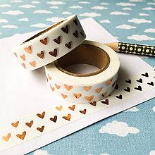 Papier - dekoračná washi páska Zlaté srdiečka - 9236609_