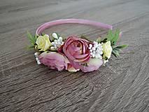 Ozdoby do vlasov - Čelenka ružovo-žltá - 9234468_