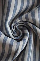 Textil - Len 100% měkčený proužek bílo-tmavě modrý - 9237525_