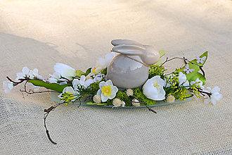 Dekorácie - Jarná dekorácia so zajačikom - 9238260_