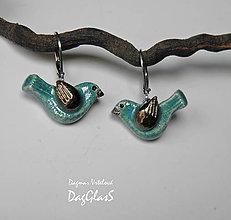 Náušnice - keramické náušky - vtáčiky - 9236804_