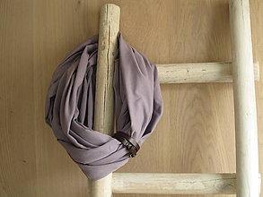 Šatky - Bavlnený Šál/Šatka s koženým remienkom  - Sarah - 9235304_