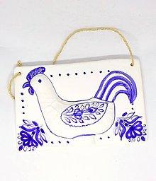Obrázky - keramický obrázok kohút - modranský vzor - 9235719_