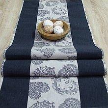 Úžitkový textil - Romantické srdiečka sivé - stredový obrus 130x40 - 9237619_