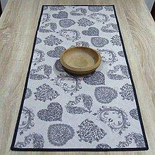 Úžitkový textil - Romantické srdiečka sivé - obrus obdĺžnik 95x40 - 9238012_
