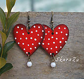 Náušnice - Heart dots // Red - 9235230_