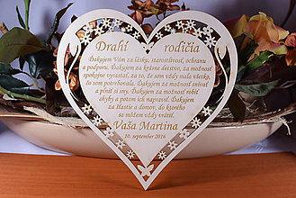 Darčeky pre svadobčanov - Poďakovanie Rodičom srdce vyrezávané 14 - 9234188_