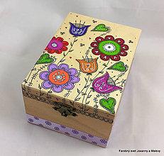 Krabičky - šperkovnica Rozkvitnutá (fialová stuha) - 9234364_