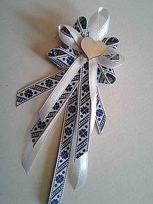 Pierka - folklórne pierko modro-biele pre starejšieho, družbu - 9240006_