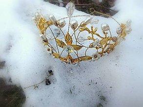 Ozdoby do vlasov - tiara, korunka, čelenka - zlatá - 9240096_