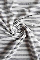 Textil - Jednolíc BAMBUS vis. elastický – proužek šedý melír 5 mm - 9243002_