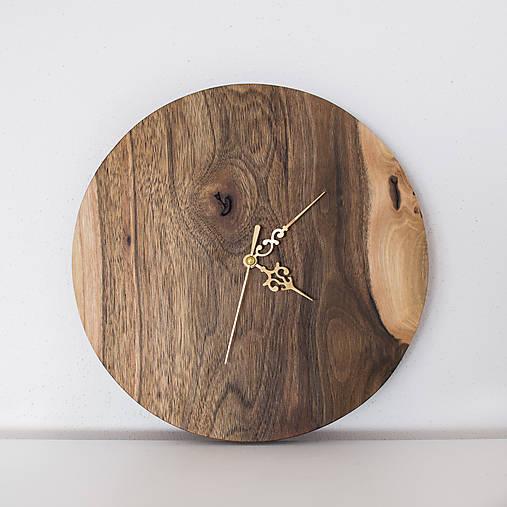 Hodiny - orechové hodiny / zlaté ručičky 2 (balík na adresu, poistenie 30€, označenie krehké 2€) - 9241412_