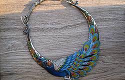 Náhrdelníky - Masívny náhrdelník páv - 9242387_