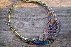 Náhrdelníky - Masívny náhrdelník páv - 9242474_