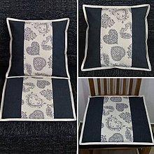 Úžitkový textil - Romantické srdiečka sivé - obliečka 2 v 1 - 9239435_